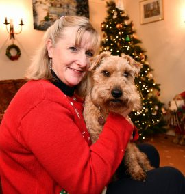 Nicky Hopkinson with Maisy dog who's been found after 3 weeks